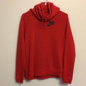 Never worn red Nike cowl neck sweatshirt